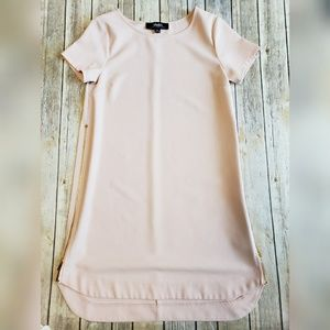 Lulu's pink blush side zipper shift dress
